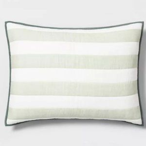 Green Striped Pillow Sham